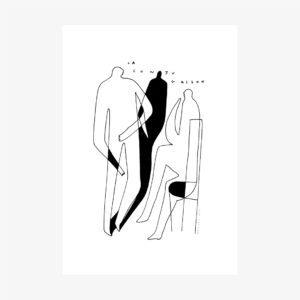 Sérigraphie 1 couleur minimaliste de 2 personnages en train de converser