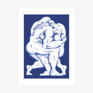Sérigraphie 1 couleur de deux hommes en train de lutter sur fond bleu