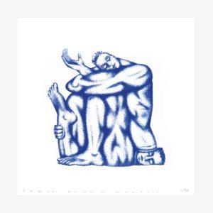 Sérigraphie 1 couleur de deux lutteurs, l'un assis sur le visage de l'autre
